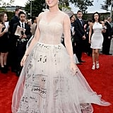 Katy Perry wore a Valentino dress covered in musical notes to the Grammys.
