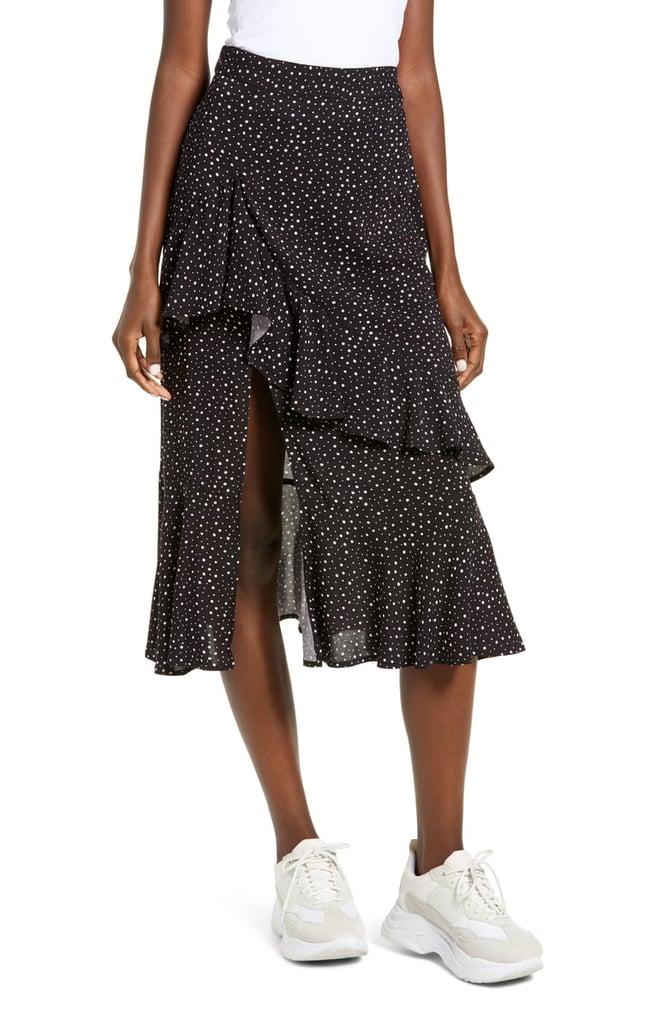 Socialite Polka Dot Ruffle Detail Skirt