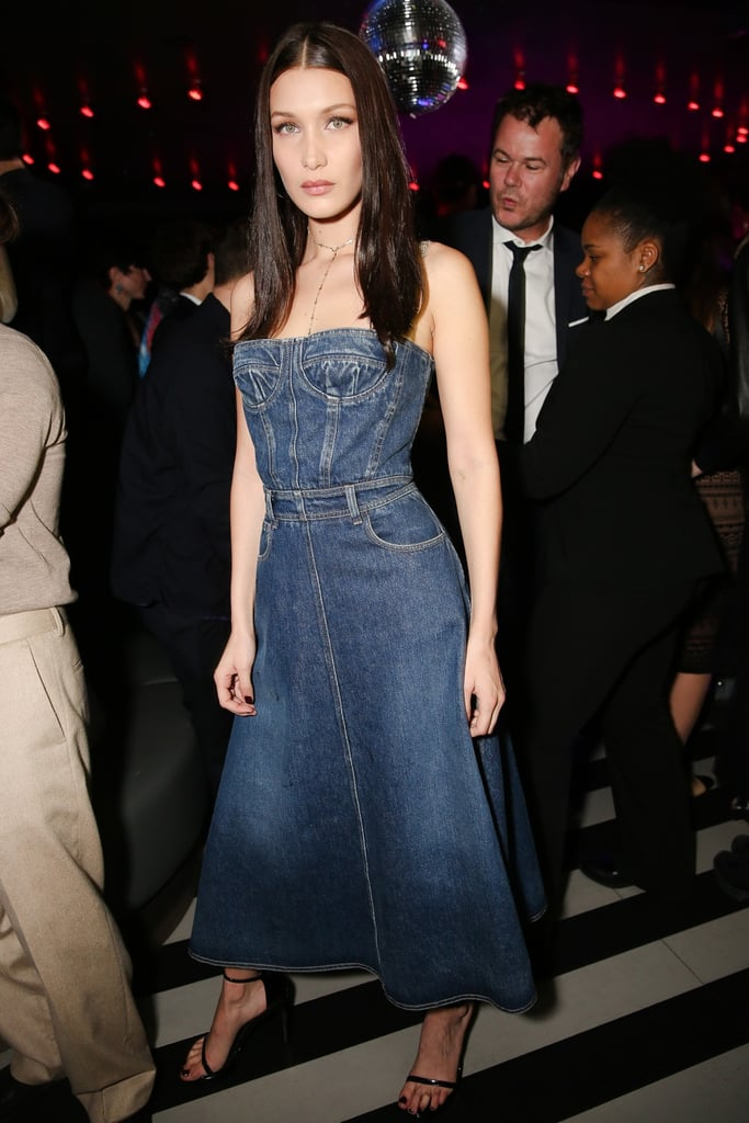 Bella Hadid Wearing a Denim Dior Dress | POPSUGAR Fashion