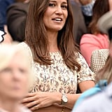 Wearing a cream colored dress to Wimbledon 2015.