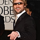 He gave a casual wave to the camera as he arrived at the Golden Globes in January 2002.