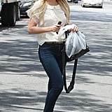 Lauren Conrad wore a white blouse and jeans while out in LA.