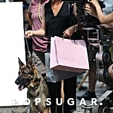 Jennifer Aniston With Dog on Squirrels to the Nuts Set