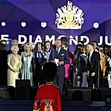 Prince Charles addressed the crowd at the end of the Diamond Jubilee Concert at Buckingham Palace.