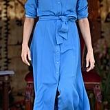 A Blue Silk Shirtdress in Tonga in October 2018