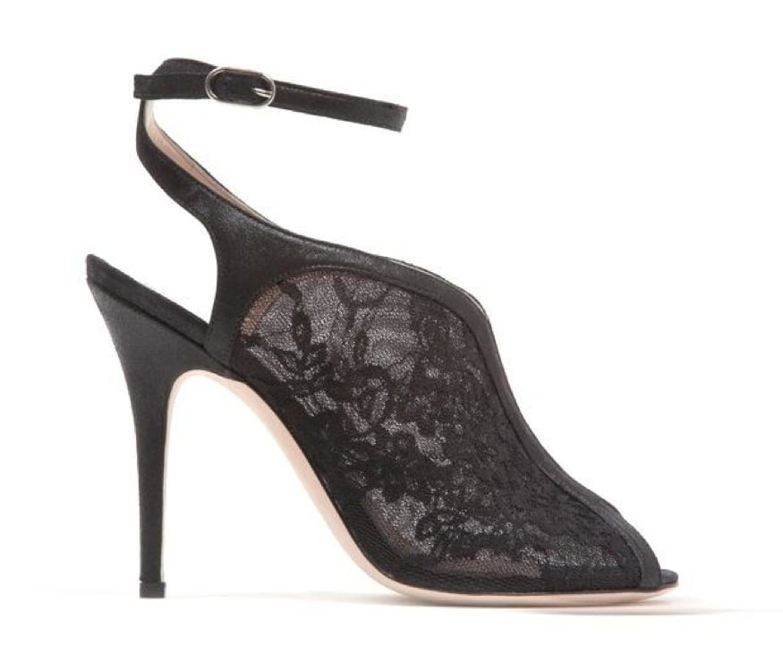 Monique Lhuillier Black Lace Over Mesh Sandal ($845)