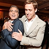 Bromantic costars George Clooney and Ryan Gosling have some fun during the premiere of The Ides of March.