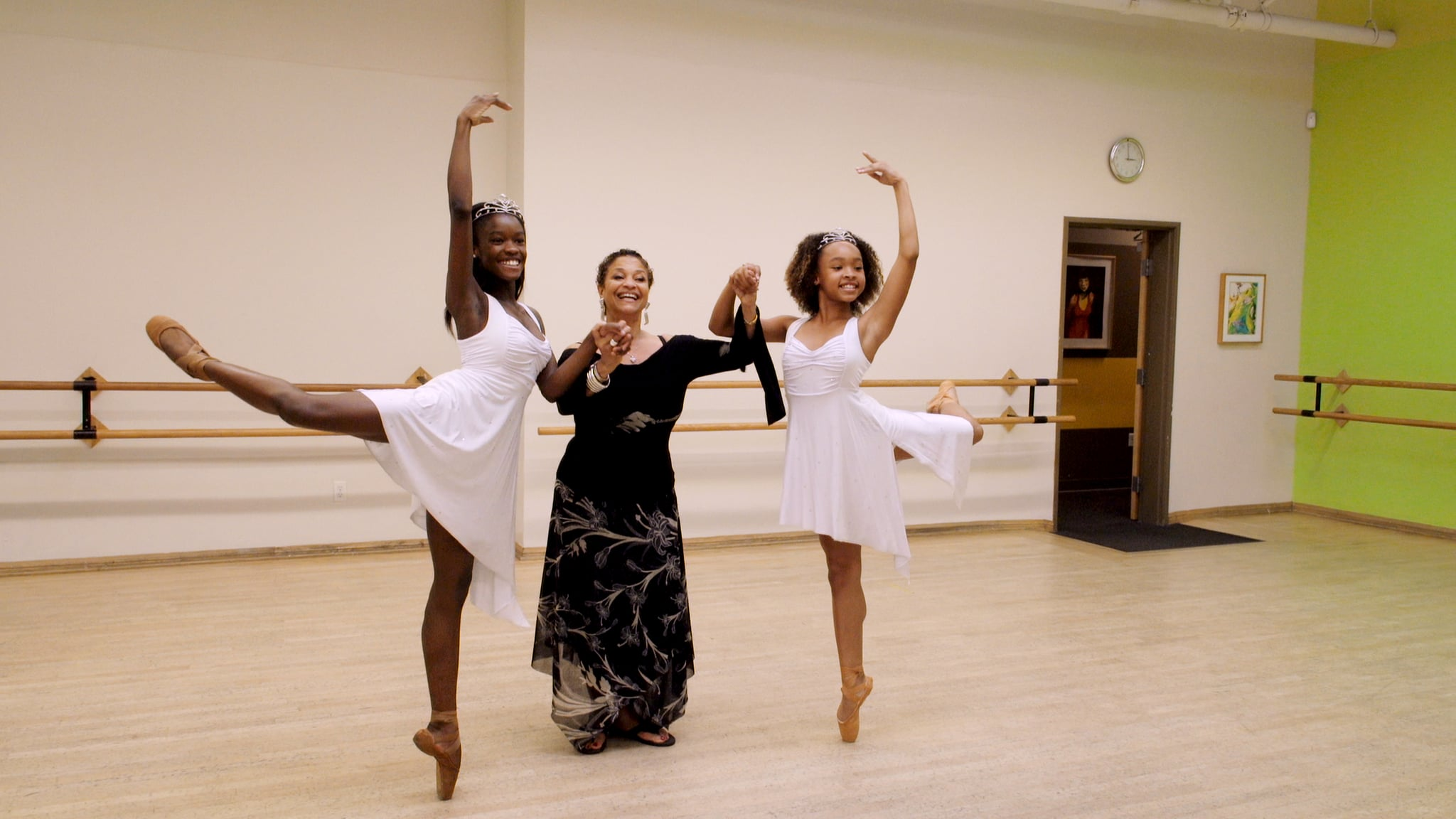 Debbie Allen with dancers, Destiny Wimpye and Jalyn Flowers in Dance Dreams: Hot Chocolate Nutcracker. c. Courtesy of Netflix ©2020