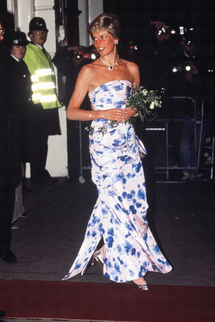 Princess Diana's Strapless Floral Gown