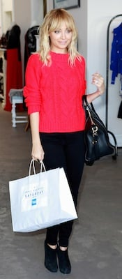 Nicole Richie in Red Topshop Sweater, Black Ksubi Skinnies, and Louboutin Booties