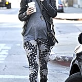 Malin Akerman showed off some killer street style in a pair of printed skinnies, biker boots, and a slick leather jacket.