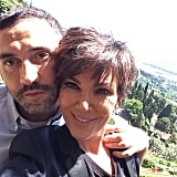 Kris Jenner posed with Givenchy designer Riccardo Tisci before leaving Florence. Source: Instagram user krisjenner
