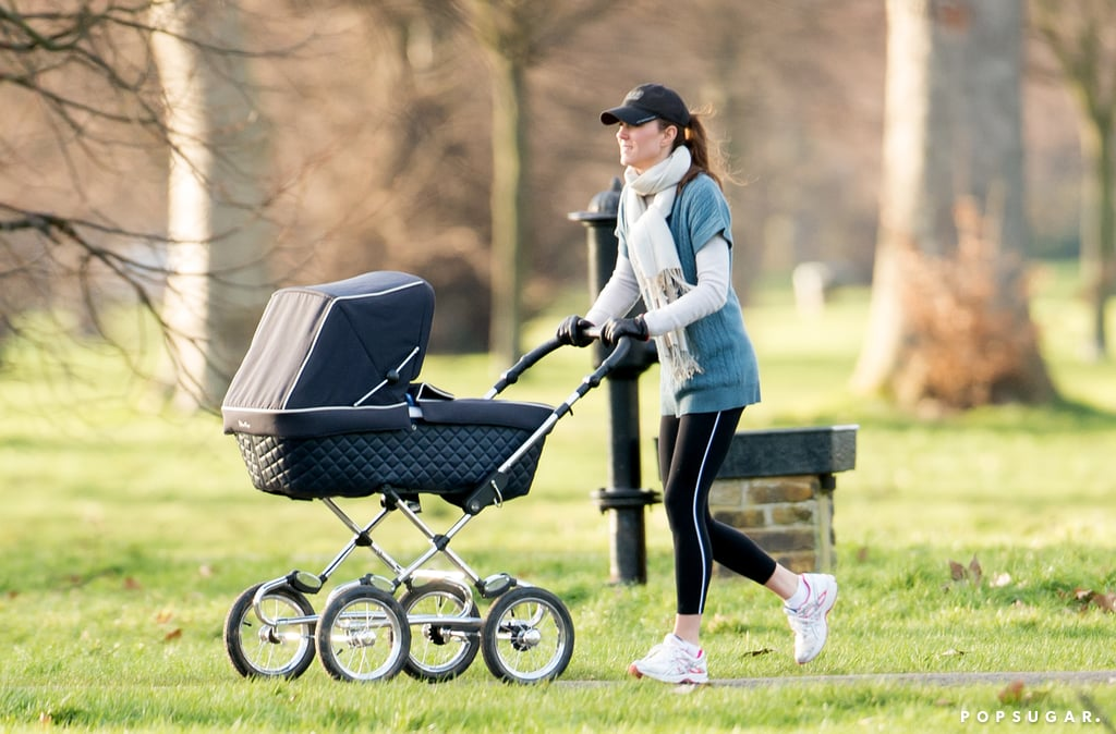 "Kate Middleton may be royalty, but she still gets a day off from being a princess. The Duchess of Cambridge took her dog, Lupo, and her son, Prince George, out for a walk in London on Thursday, one day ahead of her appearance at Northolt High School. Kate was dressed down in yoga pants, a knitted short-sleeved shirt, and a white scarf, and she made sure to pick up after little Lupo after he relieved himself on the grass.  Kate's time with her son must have been a nice break from a busy week of royal engagements. In addition to her visit to a London school, Kate also made a solo appearance at the National Portrait Gallery for its annual gala. Her fashion choices made headlines once again, as she stepped out in Queen Elizabeth II's Nizam of Hyderabad Cartier necklace. The duchess has reportedly been given increased access to the family jewels, as the queen is giving Kate a ""princess makeover"" to prepare her to take on the role of the Princess of Wales and, eventually, queen. Kate's husband, Prince William, has been busy with his own duties over the past week. On Friday, he and Prince Harry attempted to maintain a low profile when they helped with flood relief efforts in Datchet, England. The two were on what Kensington Palace called ""a private mission,"" but they were soon discovered by reporters and photographers."