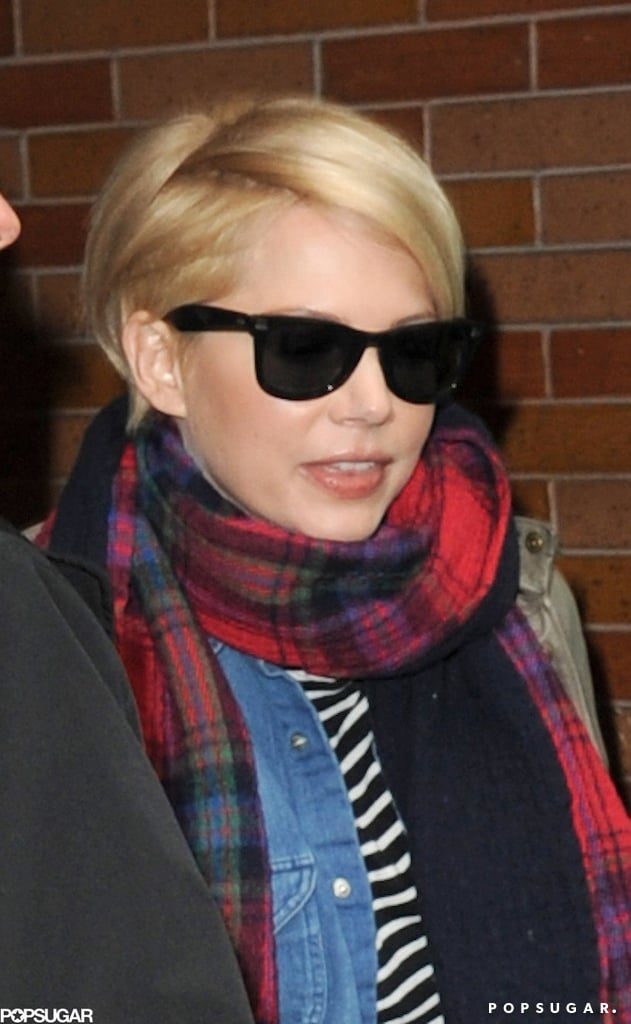 Michelle Williams smiled leaving Good Morning America.