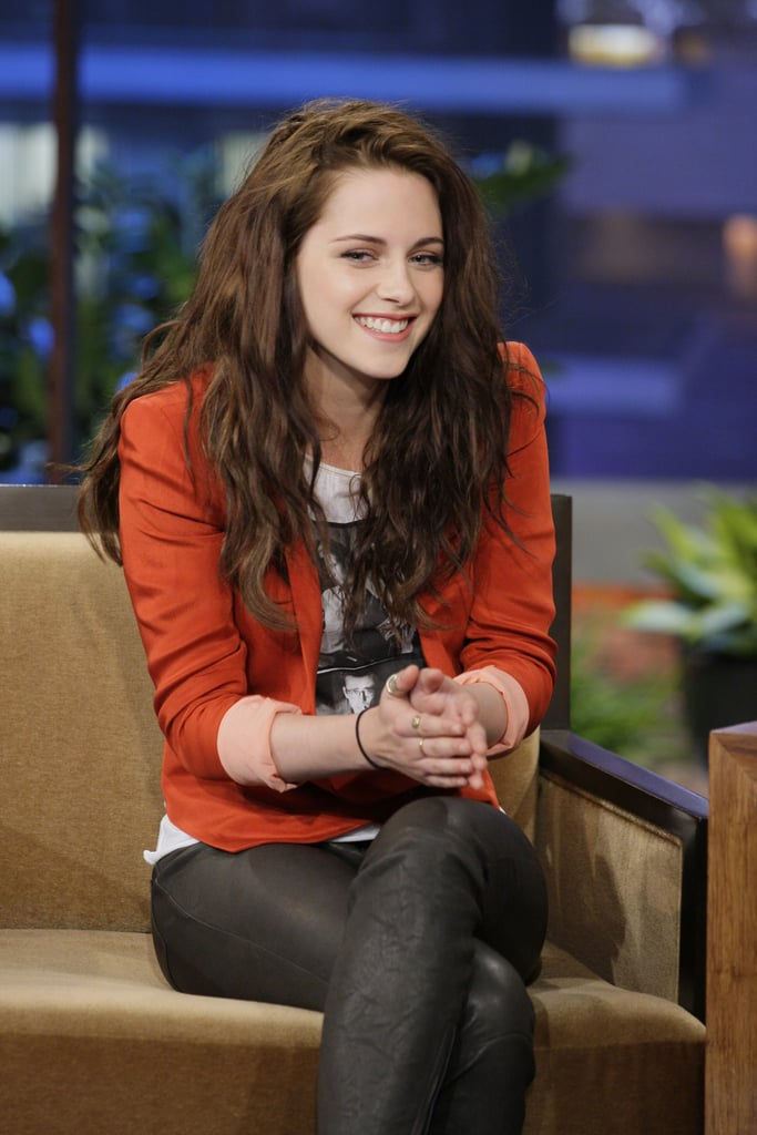 "Kristen Stewart rocked flats for her interview on The Tonight Show With Jay Leno that aired on Friday evening. She assured Jay and the audience her choice of footwear wasn't because she wanted to get out of wearing heel. Kristen apparently suffered yet another injury while filming her Breaking Dawn Part 2 reshoots in Vancouver this week. The ""puncture wound"" came while capturing even more of Bella's first hunt as a vampire, which Kristen says will be awesome when the movie hits theaters in November. Now she's switching gears to promoting Snow White and the Huntsman and she'll be heading to London next week for the junket — where she'll meet our lucky I'm a Huge Fan winner! — and premiere. First up, however, she's rumored to be making a stop off at the Met Gala in NYC on Monday."
