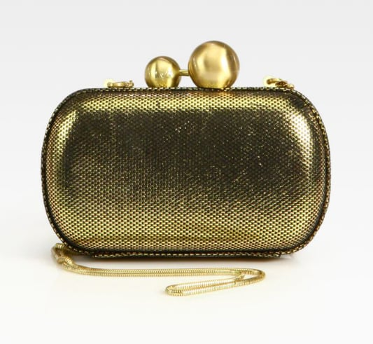 This Diane von Furstenberg gold tweed clutch ($207, originally $295) will be the most fabulous nighttime companion.