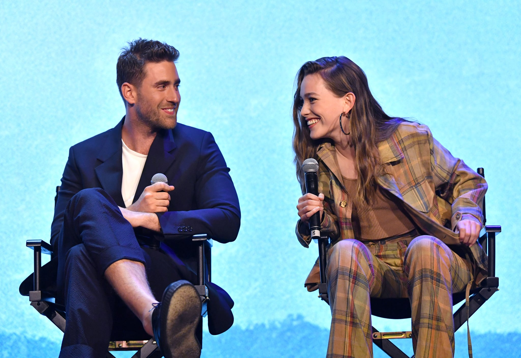 LOS ANGELES, CALIFORNIA - MAY 21: Oliver Jackson-Cohen and Victoria Pedretti speak onstage at the Netflix FYSEE Event for