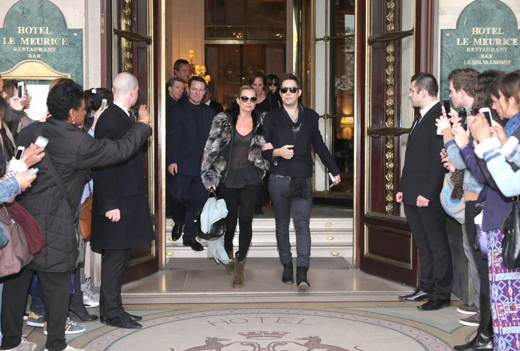 Kate Moss and Jamie Hince Leave Paris Fashion Week Arm in Arm