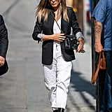 She Paired Her With Denim Boyfriend Jeans With a White Shirt and Black Blazer