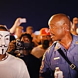 Capt. Ronald Johnson of the Missouri State Highway Patrol walked among demonstrators during a peaceful protest.