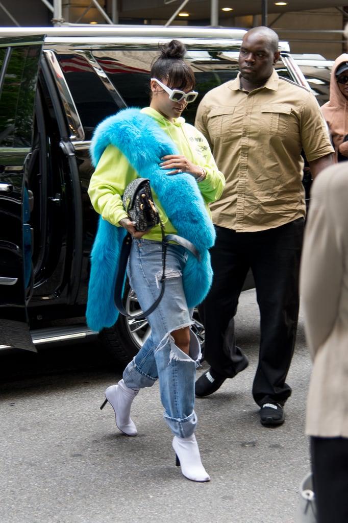 Rihanna Wearing Off-White c/o Virgil Abloh Sweatshirt