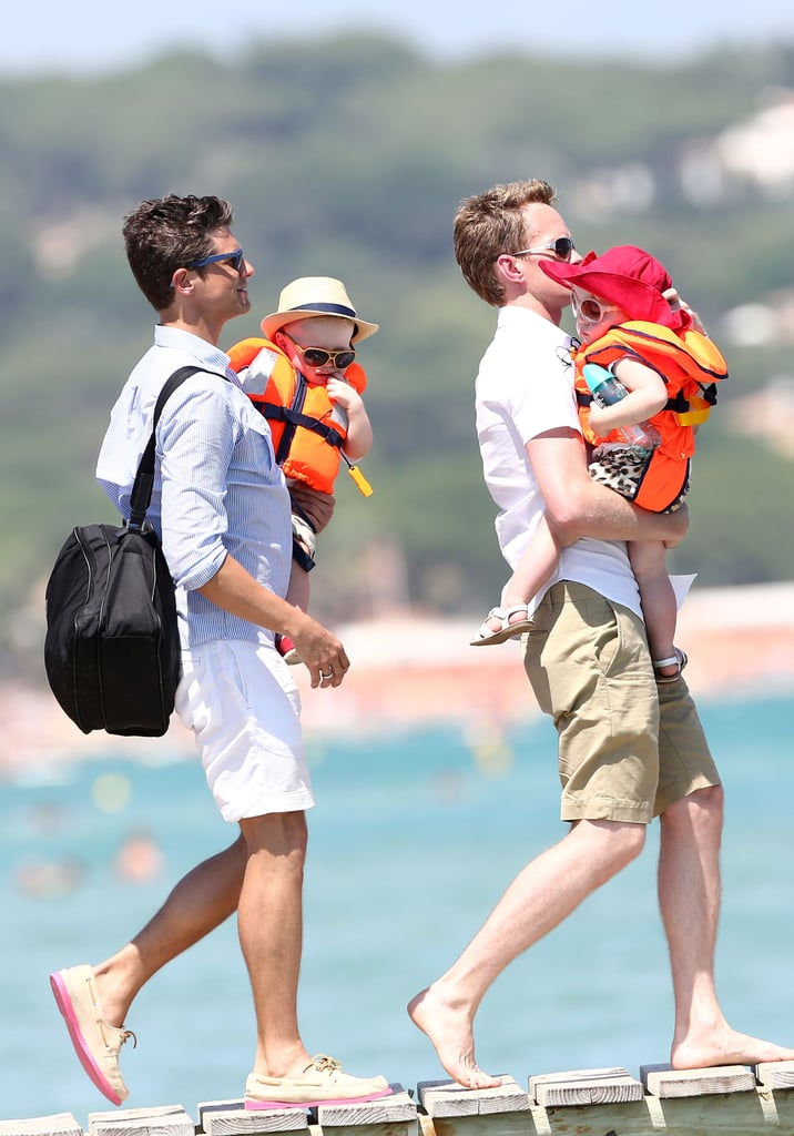 Neil Patrick Harris and David Burtka walked with Gideon Burtka-Harris and Harper Burtka-Harris.