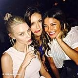 Nina Dobrev goofed around with Jessica Stam and Jessica Szohr. Source: Instagram user ninadobrev