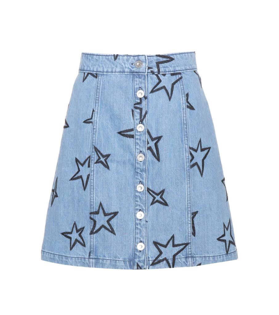 Etre Cécile Star-Embroidered Denim Miniskirt
