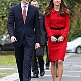 Kate Selected a Crisp Red Suit to Match Her Guy's Tie