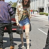 Kendall Stepped Out in a Short Pair of Denim Cutoffs in LA, Styling Them With Some Thigh-High Boots