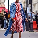 Style a Red and White Striped Dress With White Mules
