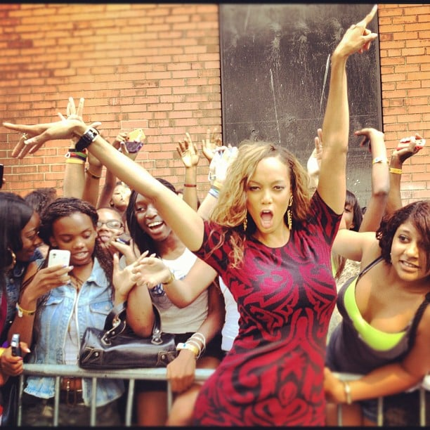 Tyra Banks Struck A Pose With Fans.