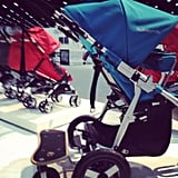 The 2013 Bumbleride Indie is more suitable for jogging than previous versions —it has a longer base, a new footwell, and a new harness that is harder for tots to use. It also has a new, wooden toddler board that supports up to 50 pounds of kid weight.