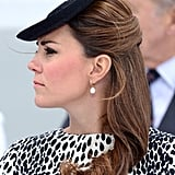 She donned a similar hairstyle for her final solo public appearance before maternity leave: the Princess Cruises ship naming ceremony.