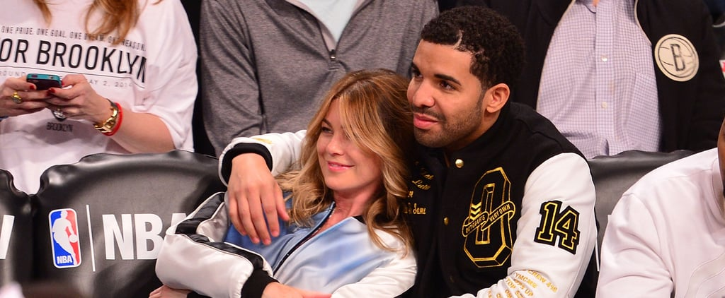Drake and Ellen Pompeo at a Brooklyn Nets Game