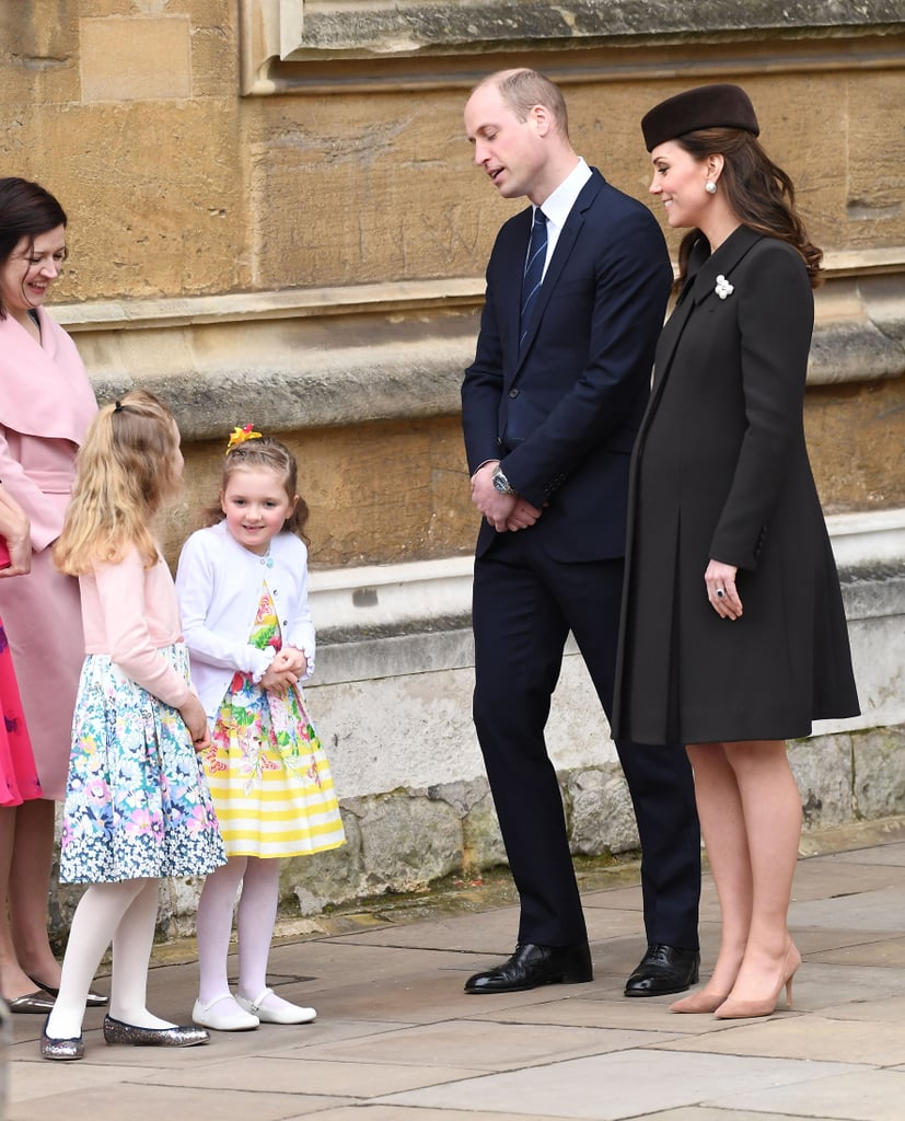 "Prince William and Kate Middleton made their annual appearance at Easter church service in Windsor, England on Sunday. Queen Elizabeth II, Prince Andrew, Princess Beatrice, Princess Eugenie, Princess Anne and Prince Edward also joined the happy couple at St. George's Chapel, which is where Prince Harry and Meghan Markle will tie the knot next month. Kate kept things simple dressed in a black coat and matching hat with tan heels and a matching clutch for a pop of color as she and her husband stopped to chat with Madeline Carleston and Amelia Vivian, two 6-year-old girls whose parents reportedly work and live in the castle. Madeline and Amelia's parents told reporters that Kate revealed her two children, Prince George and Princess Charlotte, was definitely in the Easter spirit, sharing that they ""had been on an Easter egg hunt on Sunday morning.""      Related:                                                                                                           Is It Just Us or Do Prince William and Kate Middleton Look More in Love Than Ever?               Noticeably missing, though, was Prince Philip, who has been experiencing some ""trouble with his hip"" as of lately. Also absent were George and Charlotte for the second year in a row. Harry and his fiancée, Meghan, also skipped the service due to their previous engagements, People reports. Read on to see more photos of Kate and William's latest appearance before the arrival of their third child later this month."