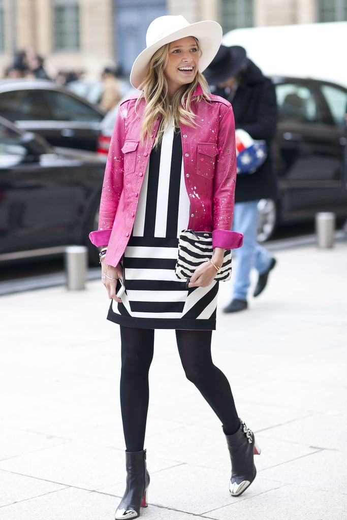 Bubblegum pink and black and white stripes made an unexpectedly cool duo.