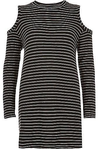 River Island Women's Black Stripe Cold Shoulder Top ($64)