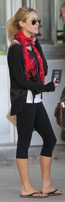 Kristin Cavallari Wears Black Leggings and Red Scarf to Toronto