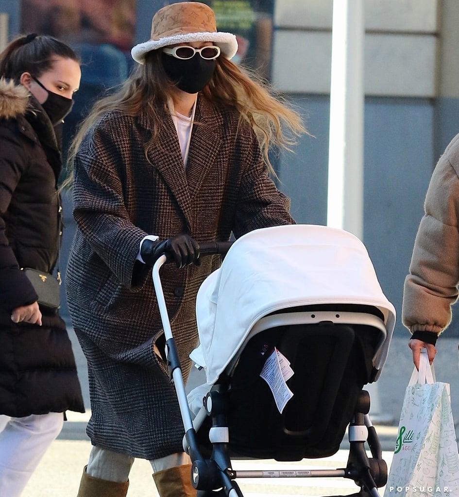 Shop Gigi Hadid's Mango Coat and Shearling LV Bucket Hat