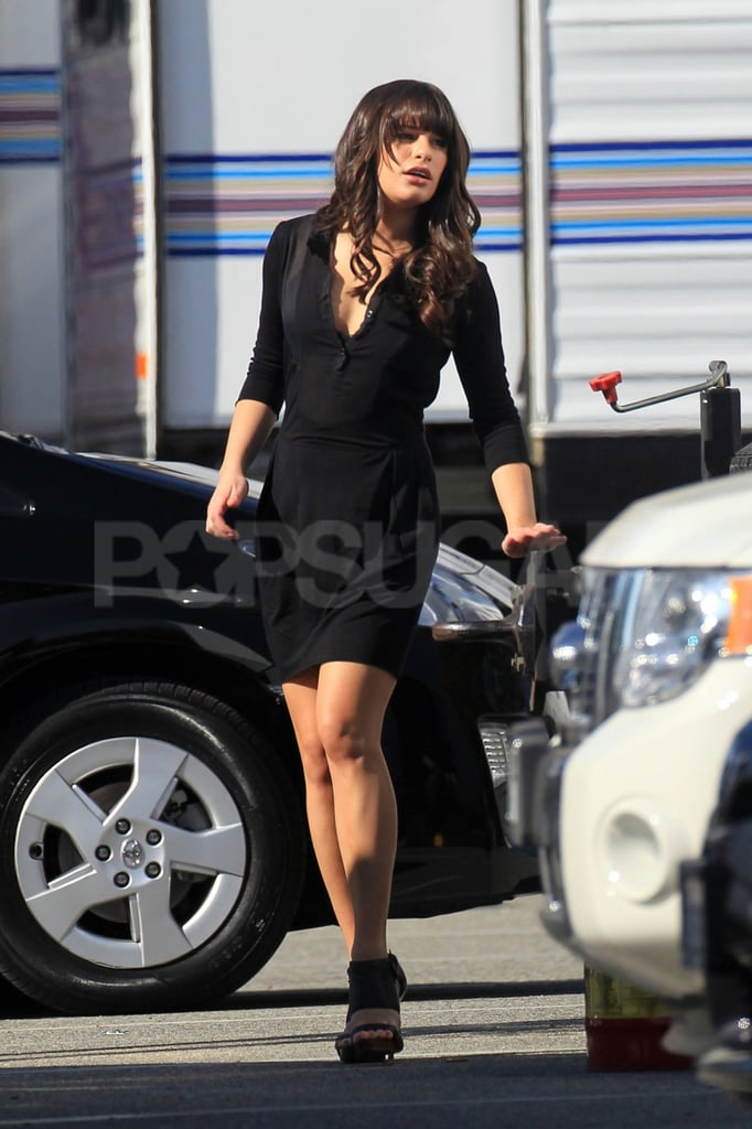 Lea Michele arrived on set in a sexy little black dress.