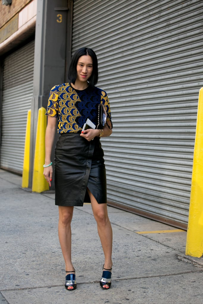 Eva Chen worked a little leather skirt and a statement printed top.