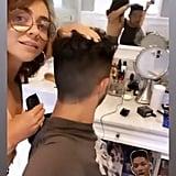 Sarah Hyland Gives Wells Adams a Haircut at Home