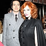 Christina Hendricks and Geoffrey Arend both donned coats. Source: Aleks Kocev /BFAnyc.com