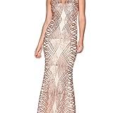 Rose Gold Fishtail Maxi Dress