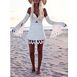 Sunmoot Fluted-Sleeve Cold-Shoulder Dress