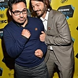 Diego Luna half-tackled his Cesar Chavez costar Michael Peña on Monday.