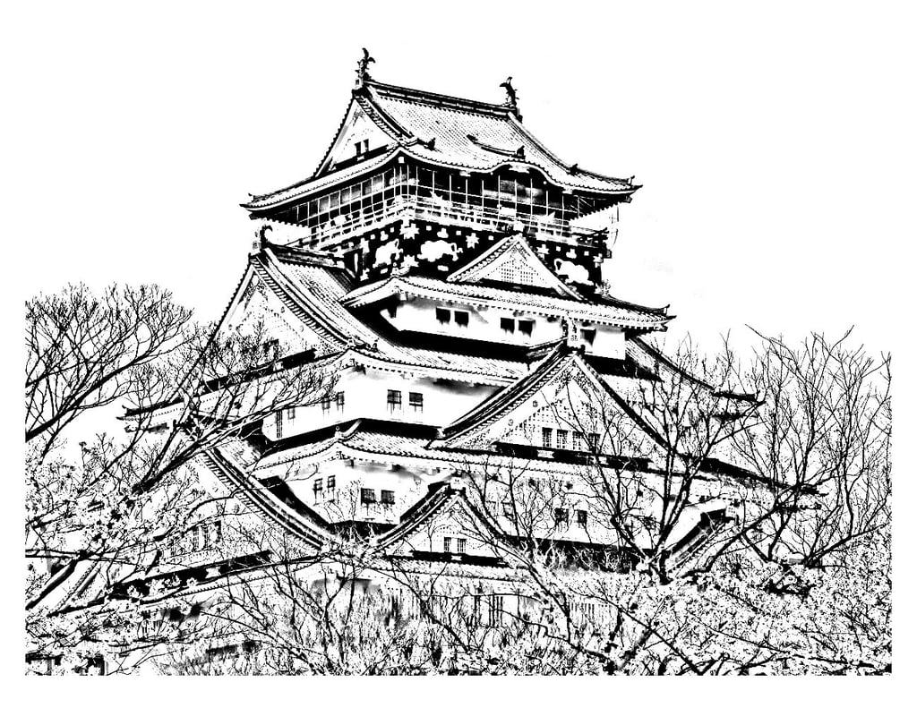 Get the coloring page: Japanese temple