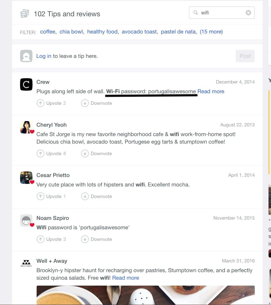 Check FourSquare for WiFi passwords.