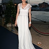 Diane chose a simple yet totally elegant Alberta Ferretti gown for the designer's private Cannes Film Festival cocktail party in 2007.